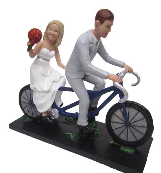 Tandem bicycle wedding cake topper