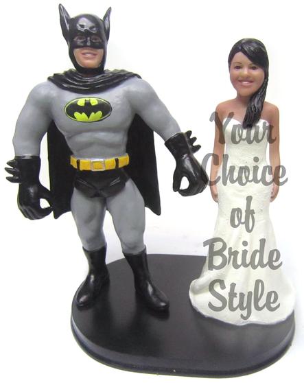 Custom Batman Groom w/ Mix & Match Bride Wedding Cake Topper