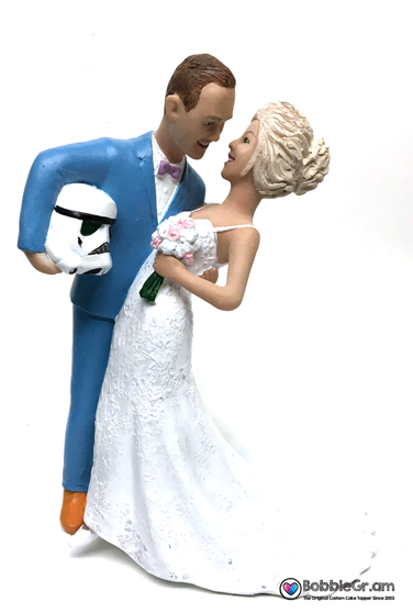 Custom Storm Trooper Groom Dipping Bride Cake Topper
