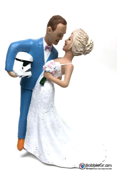 Custom Storm Trooper Groom Dipping Bride Wedding Cake Topper