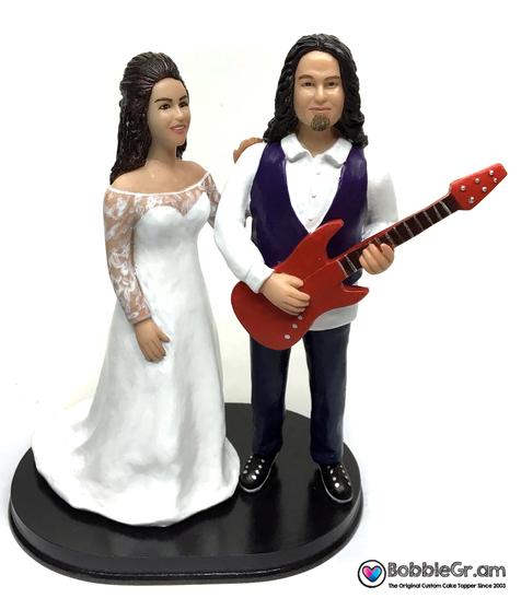 Custom Modern Rockers Wedding Cake Topper