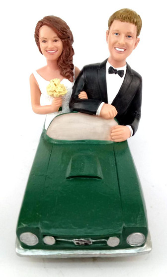 Custom Ford Mustang Couple Wedding Cake Topper