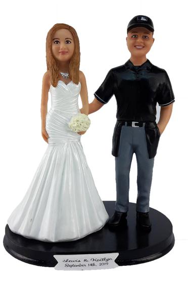 Custom Baseball Umpire Groom w/ Mix & Match Bride Wedding Cake Topper