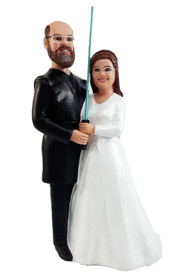 Custom Couple Holding Lightsaber Star Wars Wedding Cake Topper
