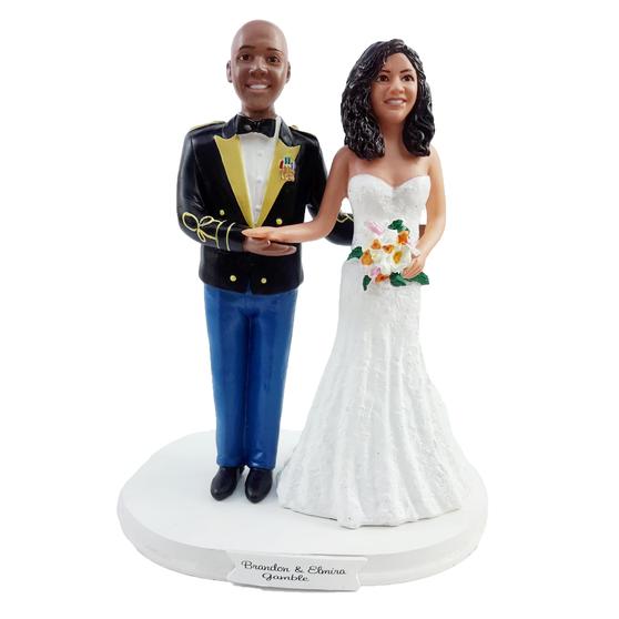 Custom US Army Mess Uniform w/ Mix & Match Bride Wedding Cake Topper