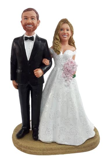 Custom Traditional Bride and Groom Wedding Cake Topper