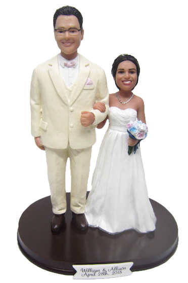 Custom Tall Groom and Short Bride Wedding Cake Topper