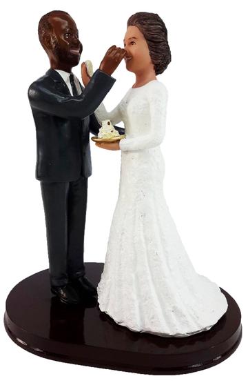 Custom Couple Feeding Each Other Cake Wedding Cake Topper