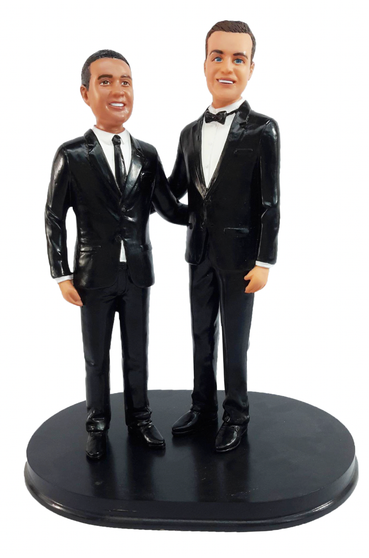 Custom LGBTQ+ Grooms Arms Around Wedding Cake Topper