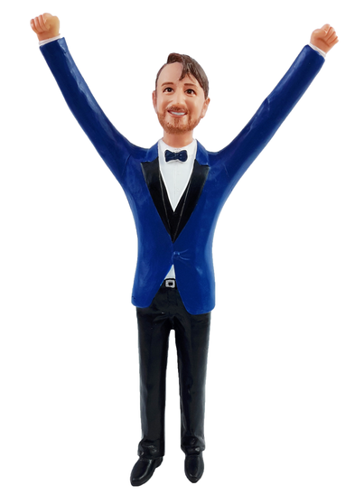 Kenny - Arms up Groom Cake Topper Figurine