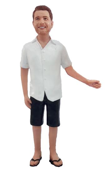 Short Sleeve Shirt and Shorts Groom Cake Topper Figurine