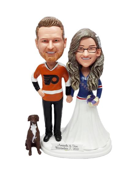 Custom Hockey Wedding Cake Toppers - Funny Style