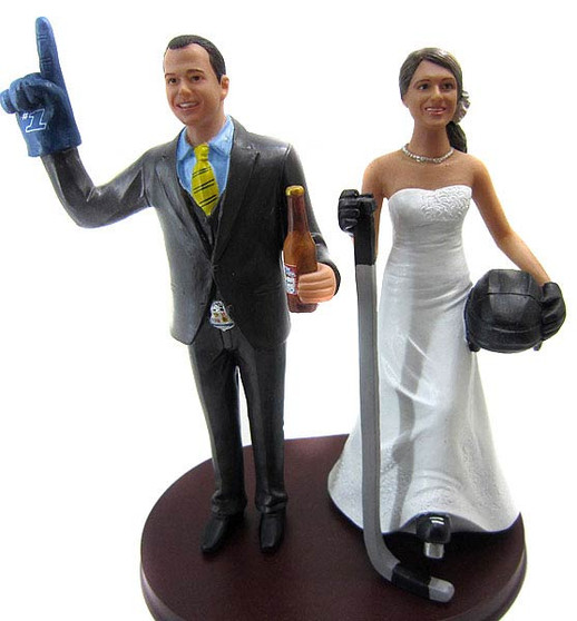 Custom #1 Hockey Fans Wedding Cake Topper