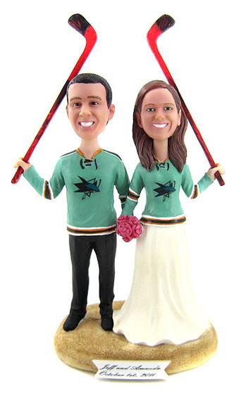 Custom Hockey Fans with Sticks Wedding Cake Topper