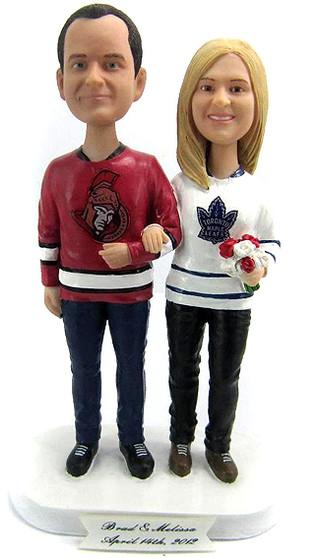 Custom Casual Hockey Fans Wedding Cake Topper