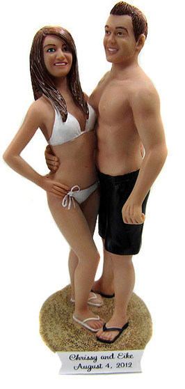Bikini Bride and Swimsuit Groom Cake Topper