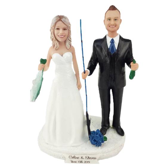 Custom Fishing Bride and Groom Wedding Cake Topper