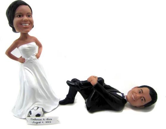Custom Athlete Couple Soccer Wedding Cake Topper