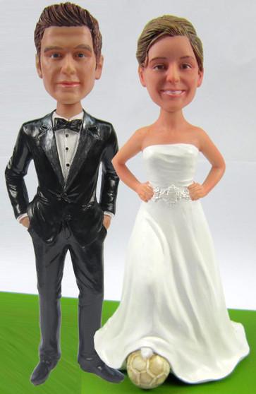 Soccer Bride w/ Mix & Match Groom Cake Topper