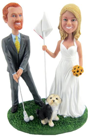 Custom Golfing Groom and Bride Wedding Cake Topper