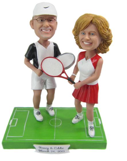 Custom Tennis Player Wedding Cake Topper