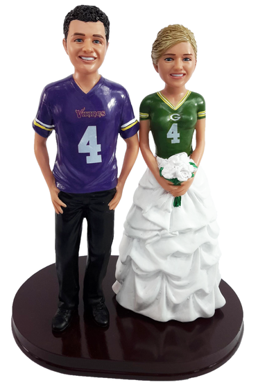 Custom Football Themed with Mix & Match Bride Wedding Cake Topper
