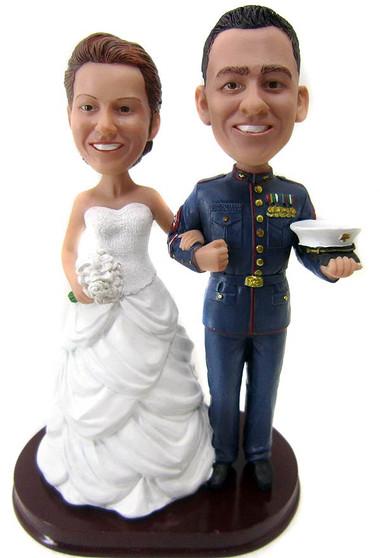 Customized Marine Officer Wedding Cake Topper