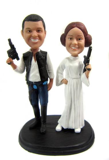 Star Wars Wedding Cake Toppers Princess Leia and Han Solo