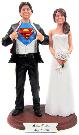 Superman Custom Wedding Cake Toppers Custom + Personalized