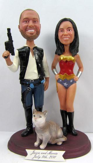 Wonder Woman Bride w/ Mix & Match Groom Cake Topper