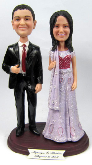 Sari Bride With Scarf and Interchangeable Groom Cake Topper