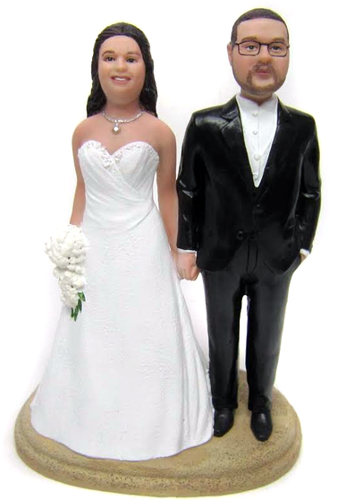 Full figurine Bride and Husky Groom Cake Topper