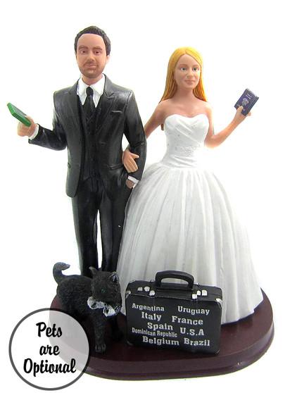 Custom World Traveler Couple Wedding Cake Topper