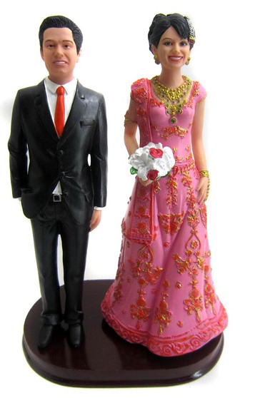 Indian bride wedding cake topper
