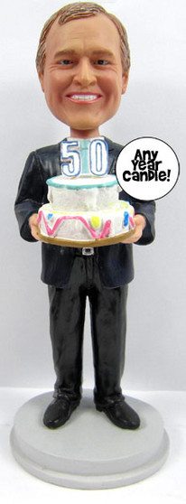 Man's Birthday Cake Topper Sculpted to Look Like Him!