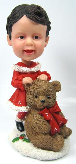 Custom Child Bobble Head figurine with Large Teddy Bear