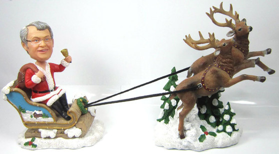 Male Bobble Head with Reindeer and Sled