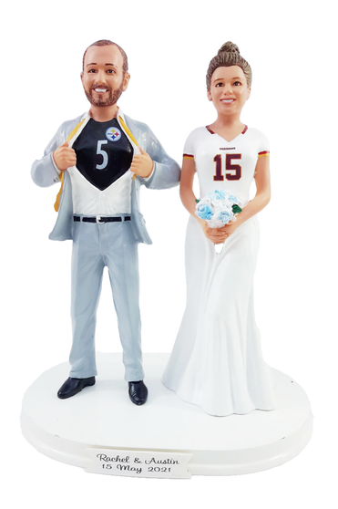 Custom Superhero Sports Jersey Couple Wedding Cake Topper