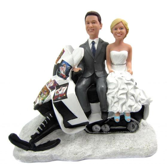 Snowmobile Ski-Doo Sled Wedding Cake Topper