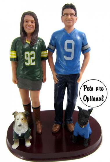 Custom Sports Jersey Couple w/Shirt and Pants Wedding Cake Topper