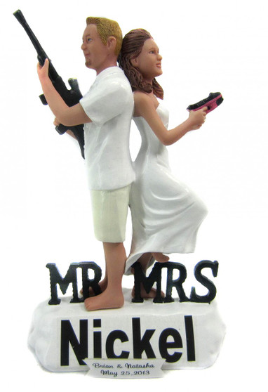 Custom Mr. and Mrs. Smith Beach Wedding Cake Toppers
