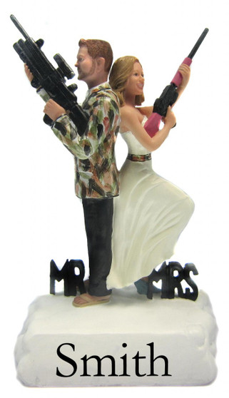 Custom Camo Hunting Mr. and Mrs. Smith Wedding Cake Toppers