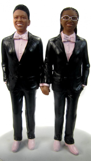 Custom Classic LGBTQ+ Couple in Tuxedos Holding Hands Wedding Cake Toppers