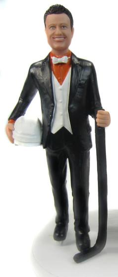 Hockey Player Groom Cake Topper Figurine