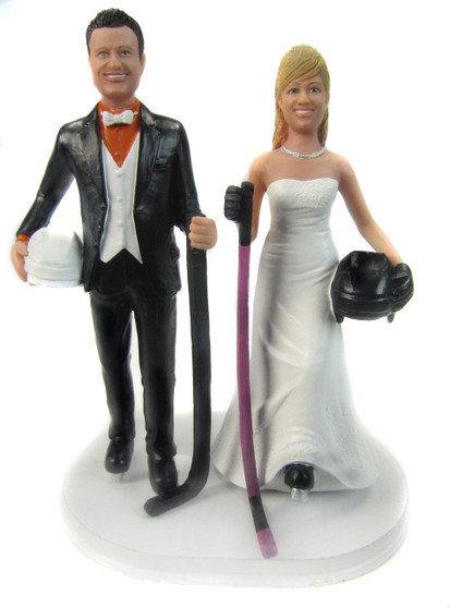 Custom Hockey Players Wedding Cake Topper