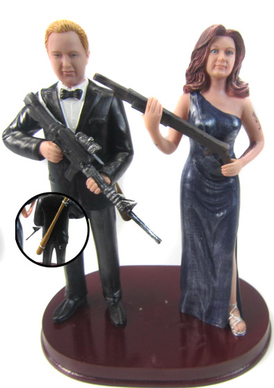 Custom Zombie Hunter Wedding Cake Toppers