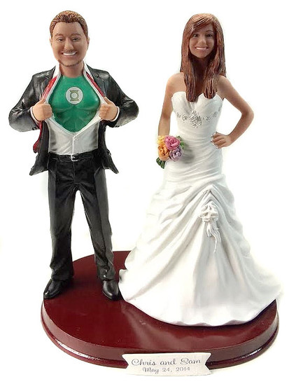 Custom Green Lantern Wedding Cake Topper w/ Mix & Match Bride