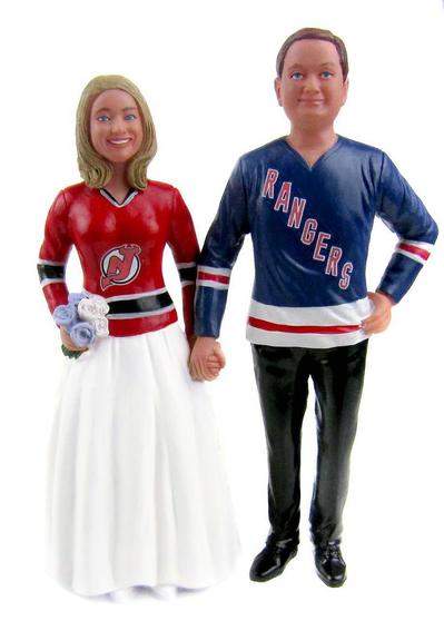 Custom Hockey Wedding Cake Topper - Classic Style