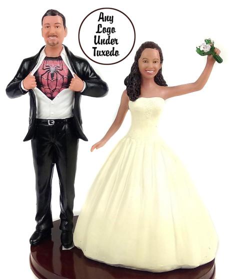 Custom Big & Tall Superhero Groom w/ Mix & Match Bride Topper
