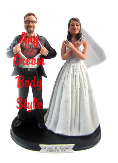 Wolverine Bride with Mix & Match Groom Cake Topper
